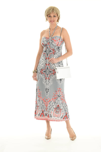 Paisley Print Halter Tie Neck Dress