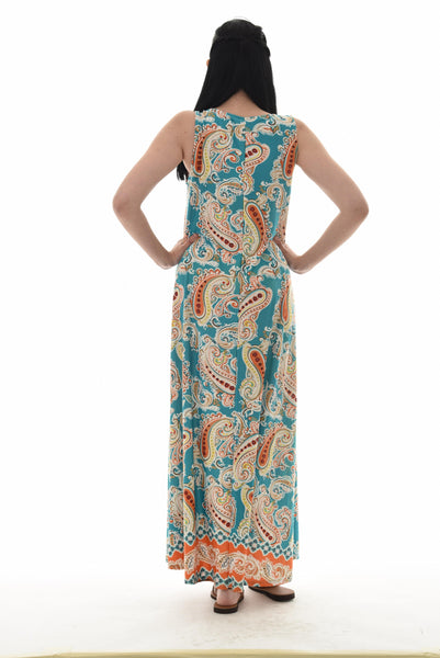 Paisley Sleeveless Maxi Dress