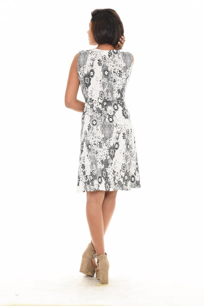 Abstract Print Front Zip Dress