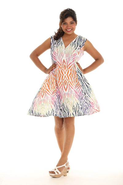 Abstract Multi Tone Print Short Dress
