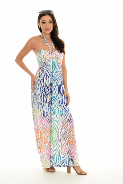 Abstract  Print Halter Tie Neck Dress