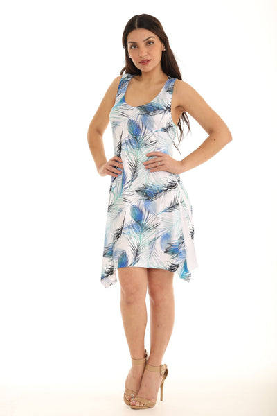 Short Peacock Feather Printed Dress