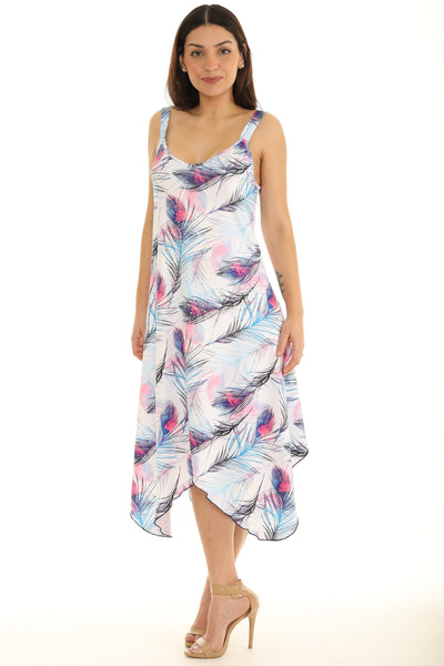 Peacock Feather Printed Dress