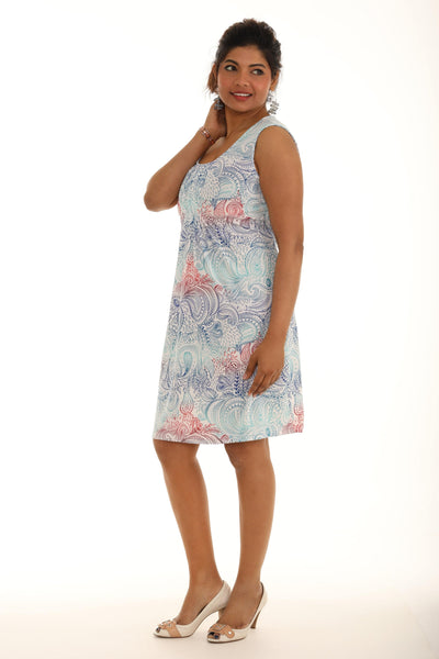 Front Pleat Paisley Print Dress