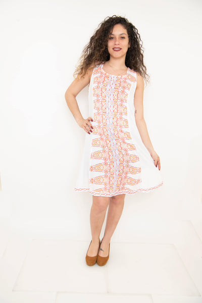 Plus Size White Printed Summer Short Dress