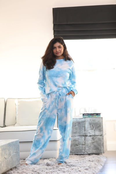 Turq Tie-Dye Long-Sleeve Crewneck Top & Joggers
