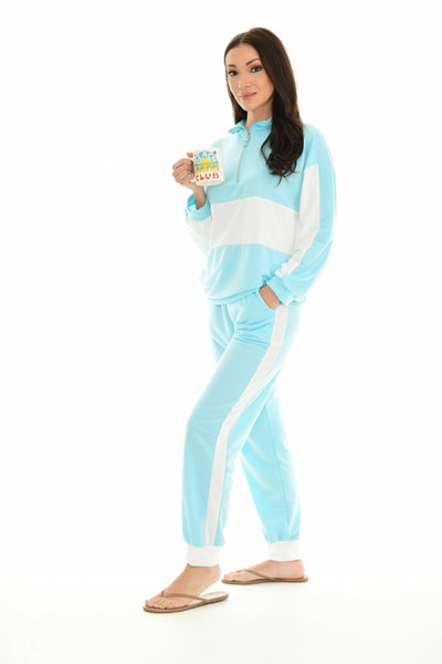 Turquoise & White Color Block Quarter-Zip Pullover & Joggers