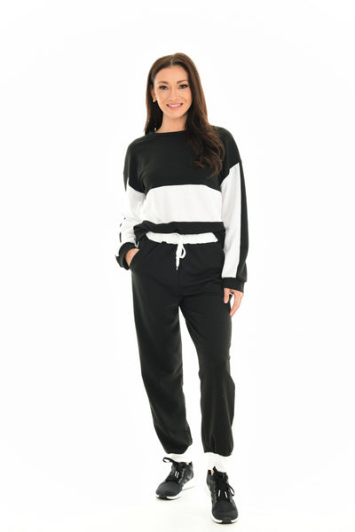 Black & White Color Block Quarter-Zip Pullover & Joggers