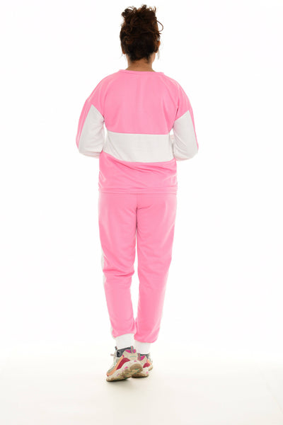 Pink & White Color Block Quarter-Zip Pullover & Joggers