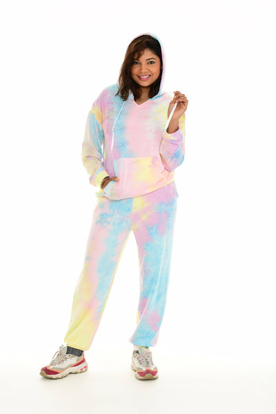 Jogger set In Tie-Dye Kangaroo-Pocket Hoodie & Pocket Sweatpants