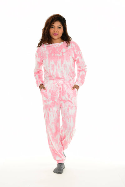 Pink Tie-Dye Sweatshirt & Drawstring Pocket Sweatpants