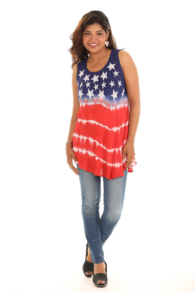 Blue & Red American Flag Sleeveless Side-Slit Top