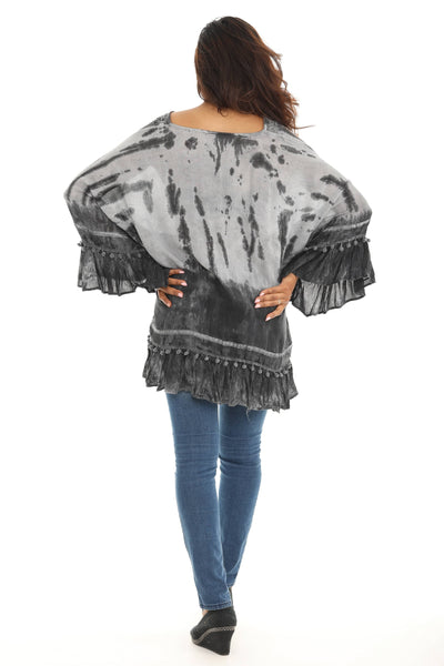 Tie-Dye Bell-Sleeve V-Neck Top