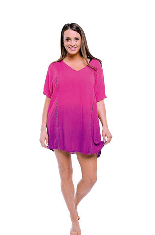 Tie Dye Rayon Half Sleeves Dress