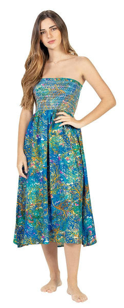 Coral Reef Print Long Tube Dress