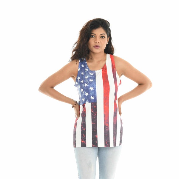 White & Red American Flag Tank