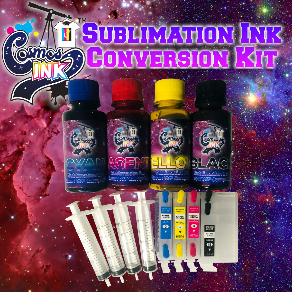 (Restocking On September 9th at 8am EST) Sublimation Ink Conversion Kit for  Epson WF-7710, 7720, 7610, 7620, 7110, 7210, 3640, 3620 | Cosmos Ink®