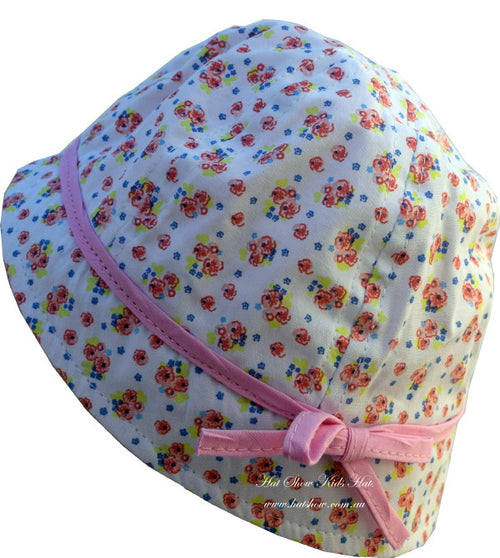 Kids Hats - Girls Floral Hat Pink Bow Trim (1001)