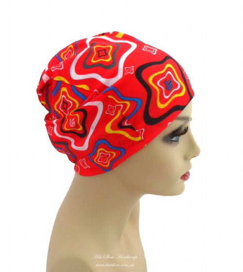 Seamless Multifunctional Headwraps - Coloured Squares on Red