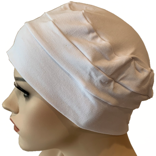 Cotton Chemo Cloche Caps - White
