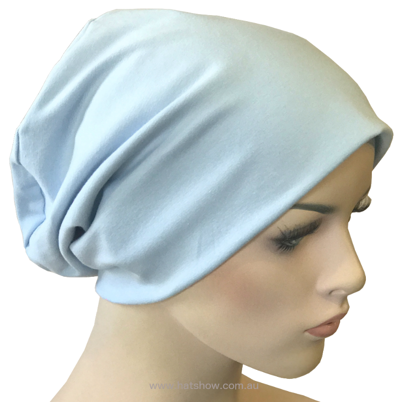 Cotton Chemo Turban - Lined - Light Blue