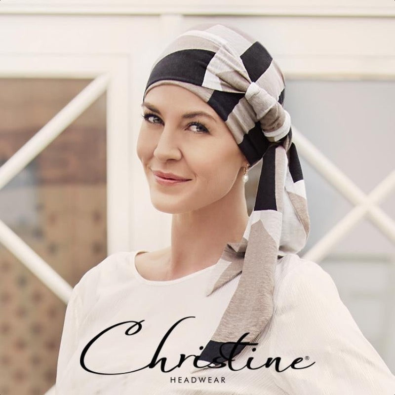 Christine - Ellone Scarf with Long Ties - Squares and Angles
