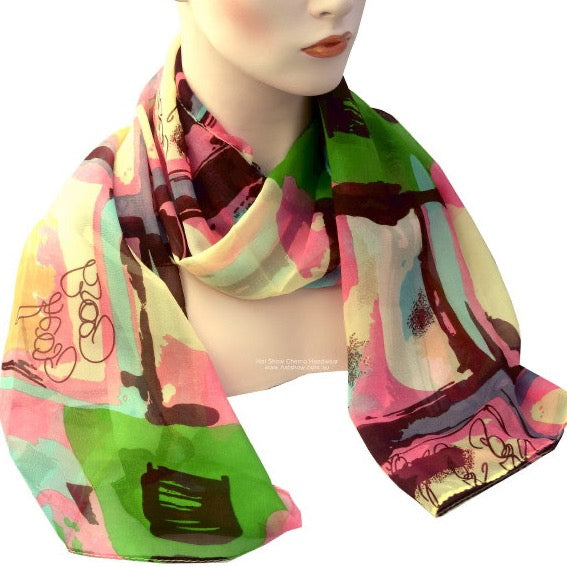Headscarves - Silky Soft - 159cm x 57cms - Pinks and Green