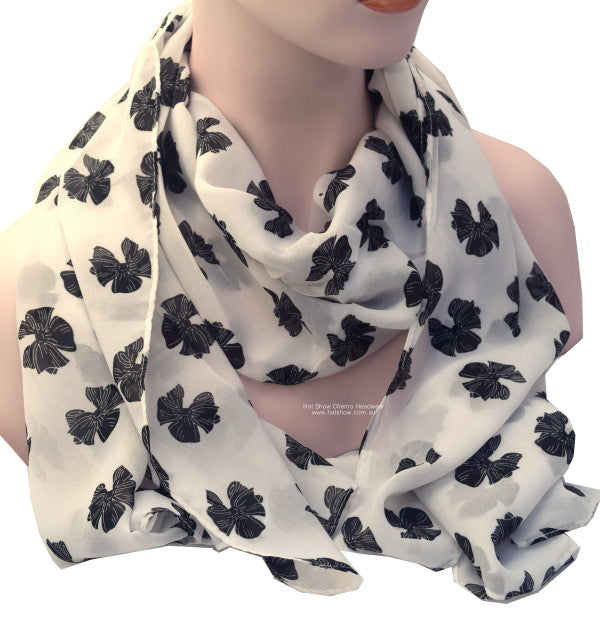 Headscarves - Silky Soft - 159cm x 57cms - White Printed with Black Bows