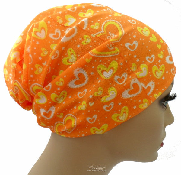 Seamless Multifunctional Headwraps - Orange with Hearts