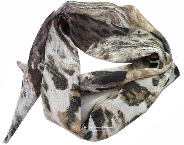 Shaped Scarf - Tiger Print Polyester Chiffon