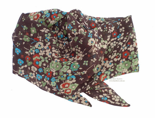 Shaped Scarf - Brown Floral