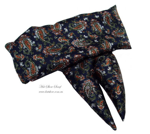 Shaped Scarf - Silky Navy Paisley