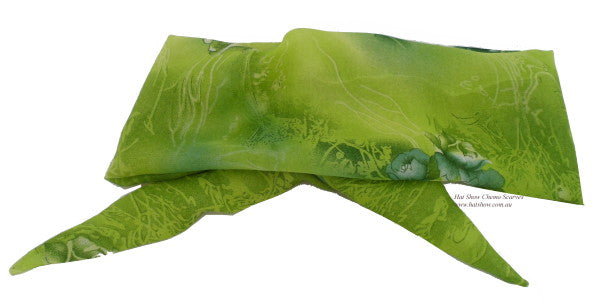 Shaped Scarf - Green with Roses