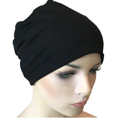 Donna Hat with Scarf Set - Black Hat with Alexis Chiffon Scarf