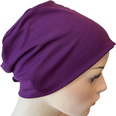Hat with Loop for Scarf - Plum