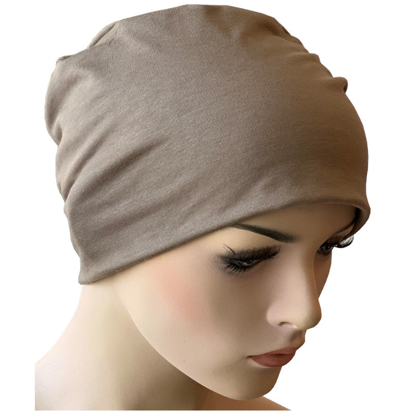 Donna Taupe Hat with Loop for Scarf