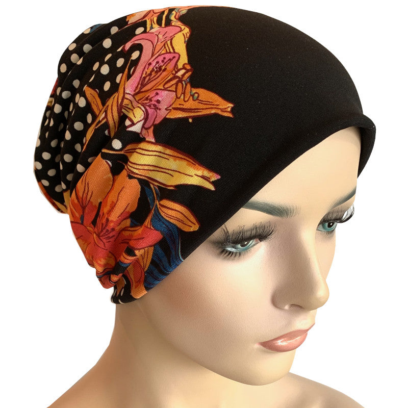 Beanies - Comfort Stretch - Dots and Orchids on Black