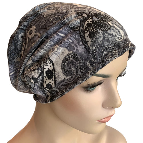 Beanies - Comfort Stretch - Silver Grey Paisley