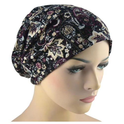 Beanies - Comfort Stretch - Dark Plum and Beige Paisley