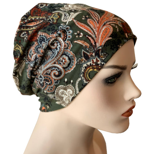 Beanies - Comfort Stretch - Olive Paisley