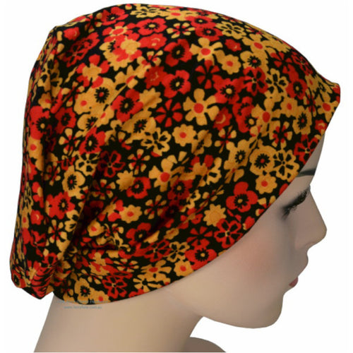Beanies - Comfort Stretch - Orange Red and Black Little Flowers Collection
