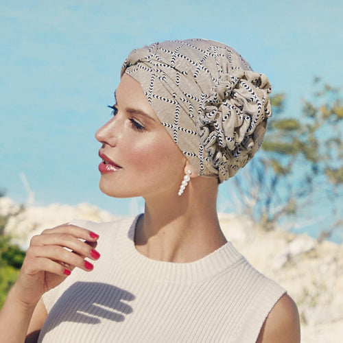 Christine - Lotus Turban - Linen - Indian Taube