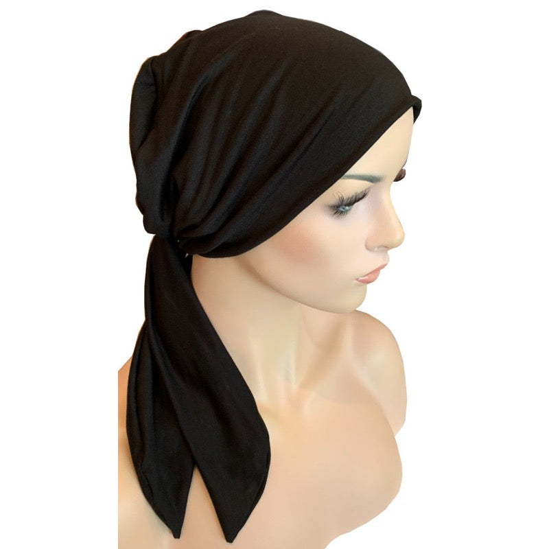 Chemo Cap with Ties - Bamboo - Black
