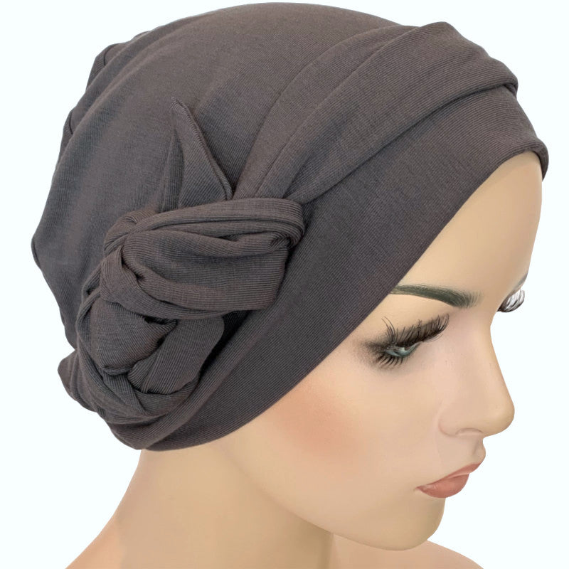 Chemo Cap with Ties - Bamboo - Charcoal Grey