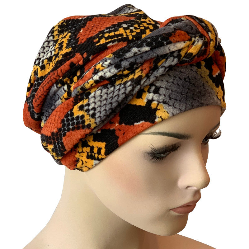Chemo Cap with Ties - Orange Cobra
