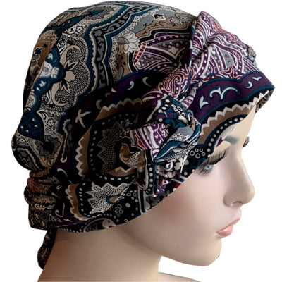 Chemo Cap with Ties - Paisley Patchwork
