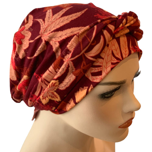 Chemo Cap with Ties - Red Lotus Collection