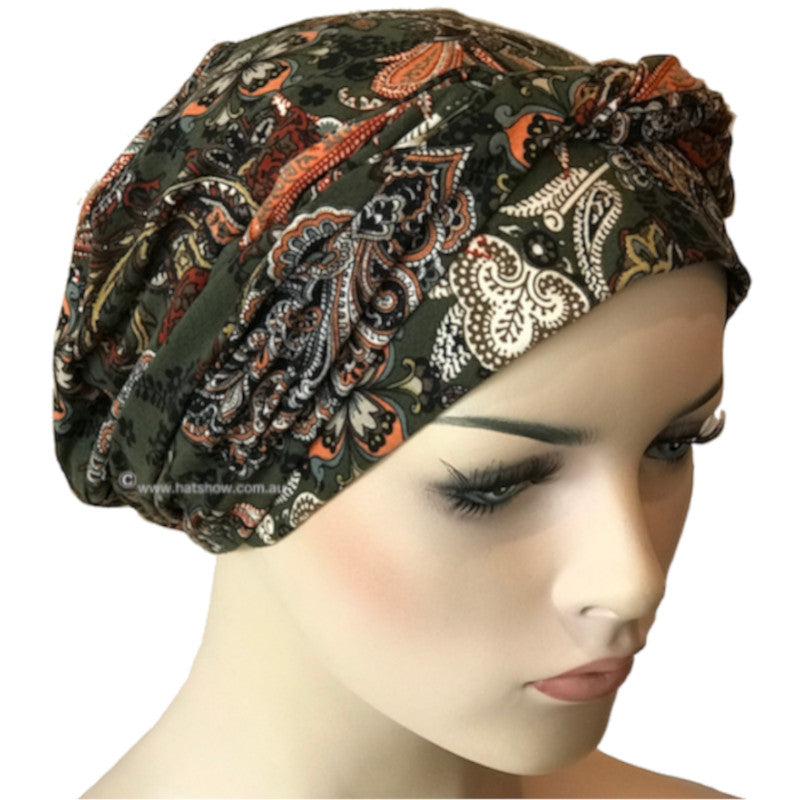 Chemo Cap with Ties - Olive Green Paisley