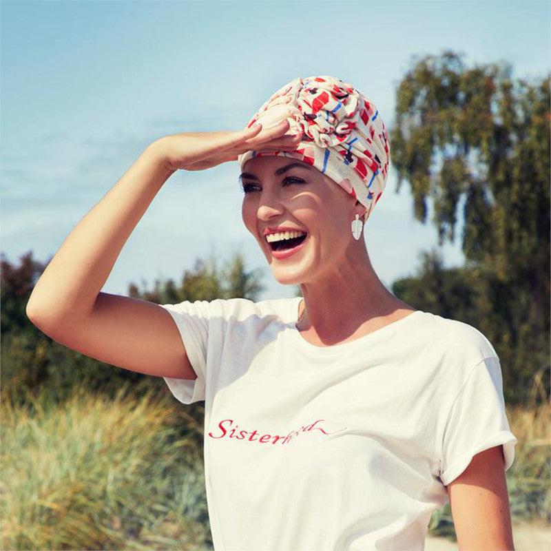 Christine - Lotus Printed Turban - Pixelated Poppies
