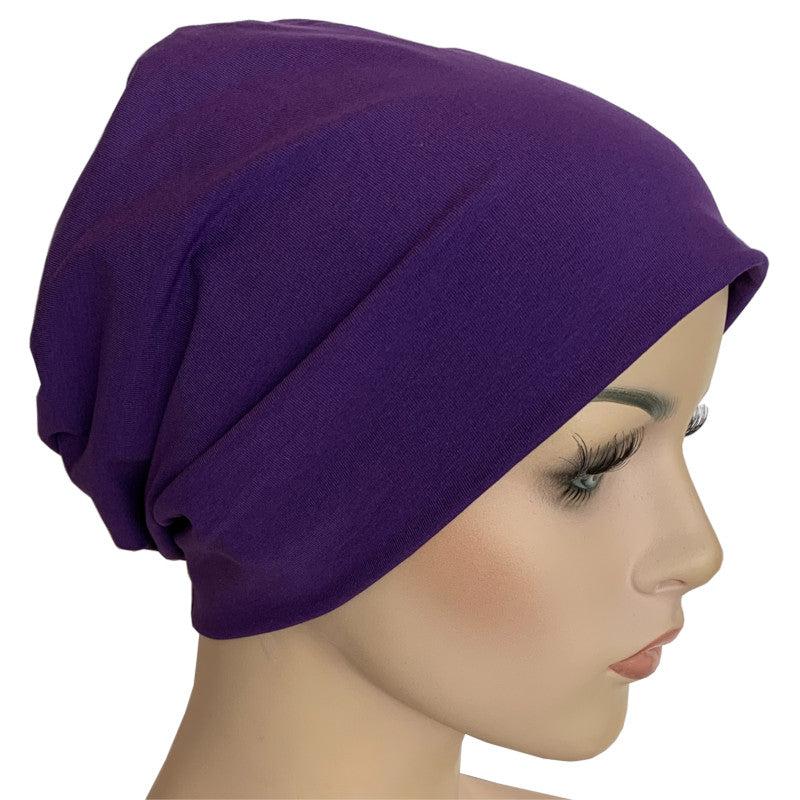 Cotton Chemo Turban - Lined - Small (52cms) - Purple